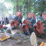 秋葉神社での奉納獅子舞