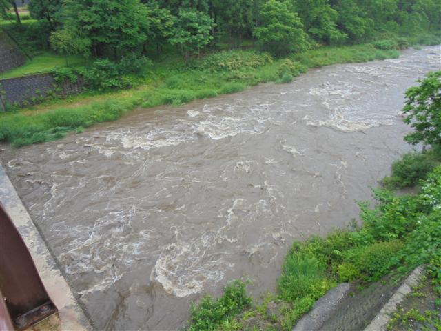 組合事務所前橋下流増水中